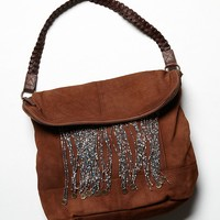 Free People Womens Heaven Fringe Hobo - Distressed Brown One