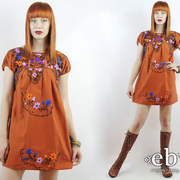 Vintage 70s Rust Brown Embroidered Mini Dress XS S Brown Mexican Dress Embroidered Dress Hippie Dress Hippy Dress Boho Dress Festival Dress