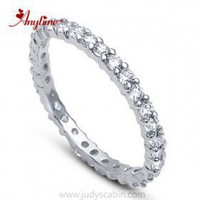 CZ Diamond Eternity Ring in Sterling Silver - Cubic Zirconia Rings - Rings