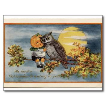 Pumpkin Child Owl Moon Halloween Postcard