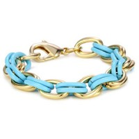 "Lee Angel ""Safina"" Turquoise-Color Enamel and Gold Plated Double Link Bracelet"