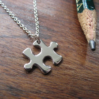 Miniature Puzzle Piece Silver Pendant Necklace