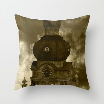 The Clock Tower II Throw Pillow by Texnotropio