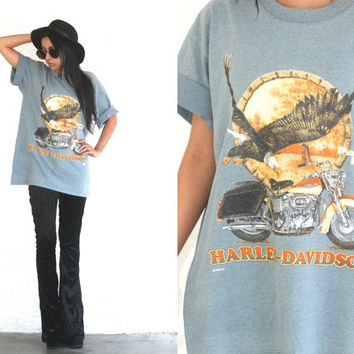 Vintage 90s HARLEY DAVIDSON Eagle Paradise Found T Shirt // Steel Blue Grey // Hipster Boho Gypsy // XS Extra Small / Small / Medium / Large
