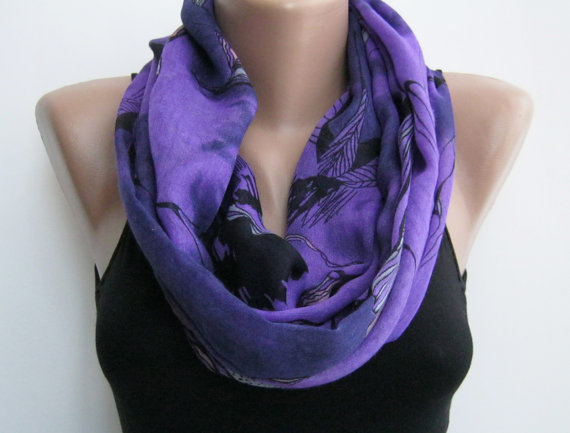 15% SALE Infinity scarf- purple multicolor lightweight loop scarf