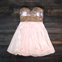 rose gold sequin strapless dress homecoming prom wedding events school dances