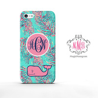 Monogram iPhone 5 Cover Cute Green whale , custom monogram iPhone 5C Case, available for iPod Touch 4 iPod 5 Case, iPhone 3 Case