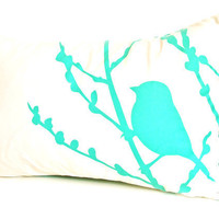Mint Green Print on Off White Cotton Bird on Cherry Blossom Pillow