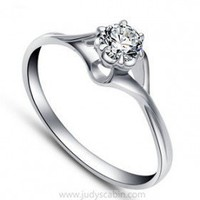 Sterling Silver Six Prong CZ Solitaire Ring - Cubic Zirconia Rings - Rings