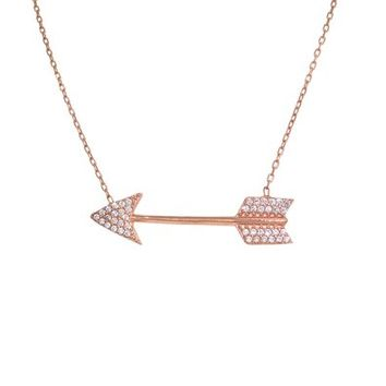 Rose Gold CZ Arrow Necklace