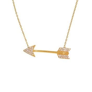 Gold CZ Arrow Necklace
