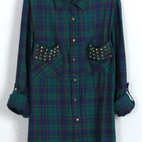 BAD GIRL STUDDED FLANNEL (Forest Green) | Paper Kranes