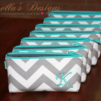 Teal Wedding clutches, Personalized Bridesmaid Gift Set of 7, Winter Wedding, Small Makeup bag Made to Order by GisellasDesigns