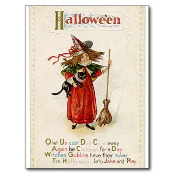 Witch Girl Cat Halloween Rhyme Postcard