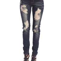 Cool Girl Destroyed Skinny Jeans | Wet Seal
