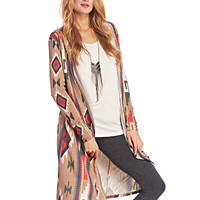 Tribal Print Hooded Duster Cardi | Wet Seal