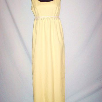 Vintage 1970s Full Length Canary Yellow Dress