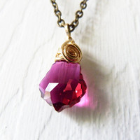 Gold Filled Wire Wrapped Ruby Red Swarovski Baroque Crystal Pendant Necklace