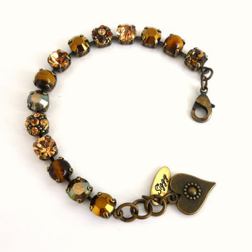 Fall colors Swarovski crystal bracelet, brown and metallic flower embellished, Designer inspired Siggy bling