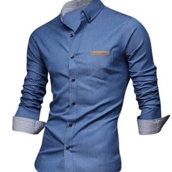 Jeansian Menx27s Slim Fit Long Sleeves Casual Shirts