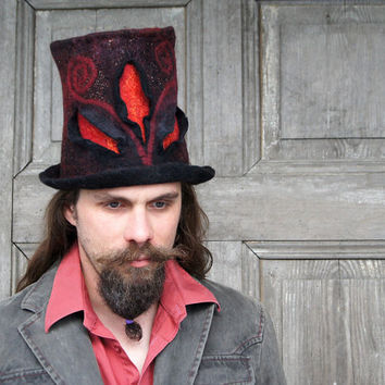 Unique fancy felted top hat, cylinder, hight hat in black, red and gold with 3D elements. Unisex…
