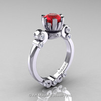 Caravaggio 14K White Gold 1.0 Ct Ruby Diamond Solitaire Engagement Ring R607-14KWGDR