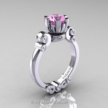 Caravaggio 14K White Gold 1.0 Ct Light Pink Sapphire Diamond Solitaire Engagement Ring R607-14KWGDLPS