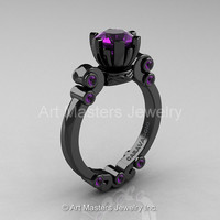 Caravaggio 14K Black Gold 1.0 Ct Amethyst Solitaire Engagement Ring R607-14KBGAM