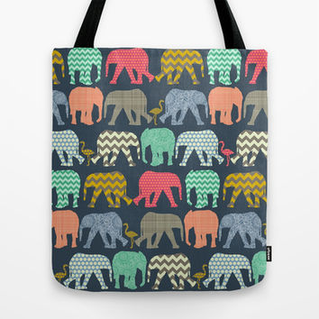 baby elephants and flamingos Tote Bag by Sharon Turner | Society6