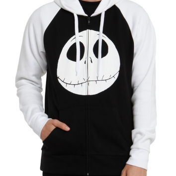 The Nightmare Before Christmas Jack Face Contrast Zip Hoodie