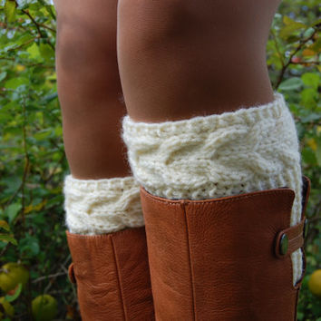 Hand knit Boot Cuffs, Boot Cuffs, Boot Socks, Wool Boot Cuffs,Womens Boot Cuffs, Leg warmer, Womens Boots Socks