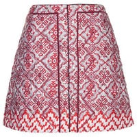 LIMITED EDITION QUILTED TILE PRINT SKIRT