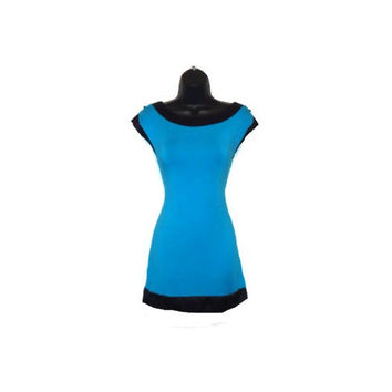 Blue Tunic Top with Black Satin Lining Womens Clothing Extra Large