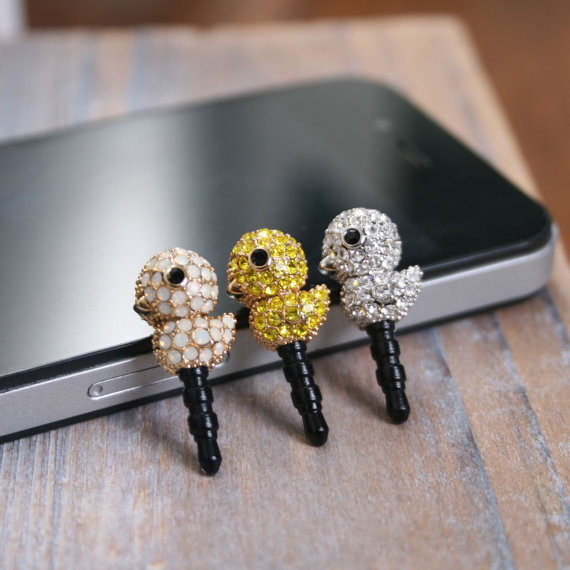 Baby Duck Crystal Dust Plug Cellphone Charm