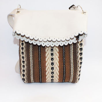 Handmade leather shoulder bag - white and brown