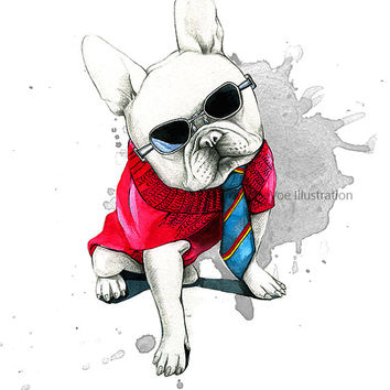 French bulldog illustration , Dog print , Watercolor dog art , Dog painting , Wall art