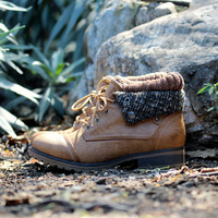 cozy sweater booties - tan