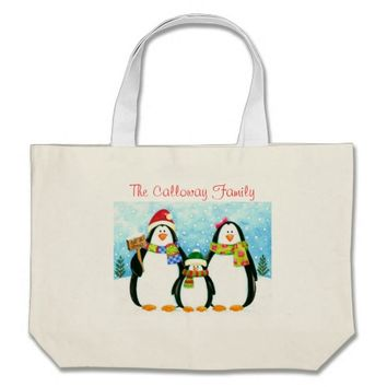 Holiday Snow Penguin Family Personalized Tote Bag