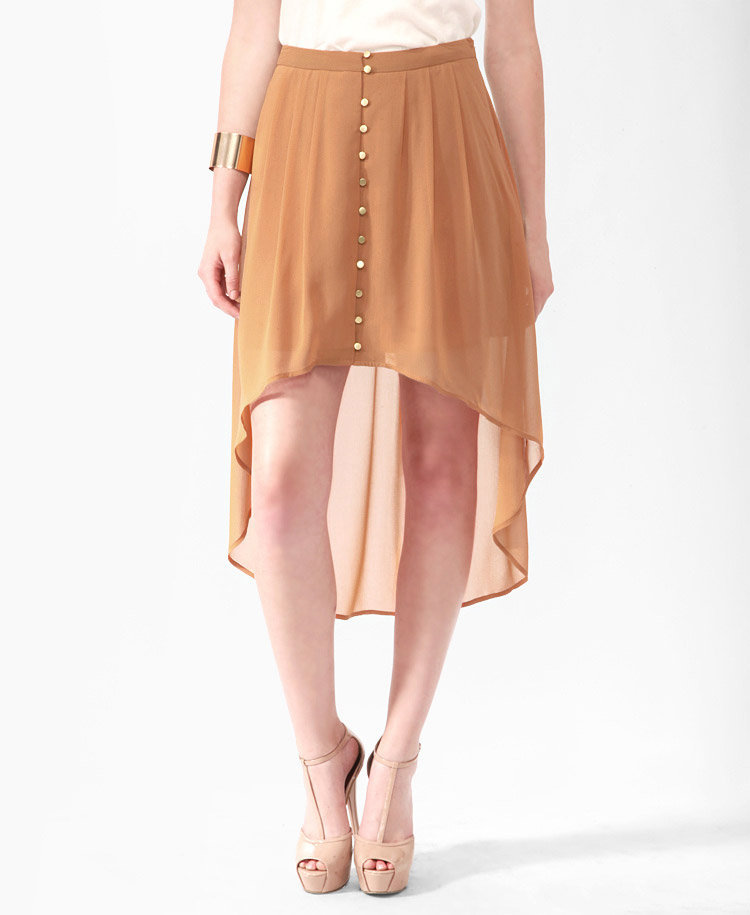 pleated buttoned high low skirt from forever 21 forever21