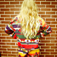 Vintage Navajo Aztec Green Red Blue Print Long Sleeved Oversized Blouse Shirt
