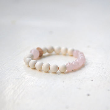 ALHENA ROSE**  Quartz and White Wooden Beads Bracelet – dreamy stacking bracelet – ivory pale soft - Love stone