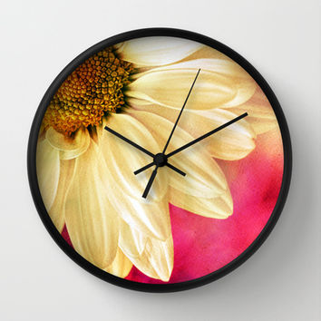 Daisy - Golden on Pink Wall Clock by micklyn