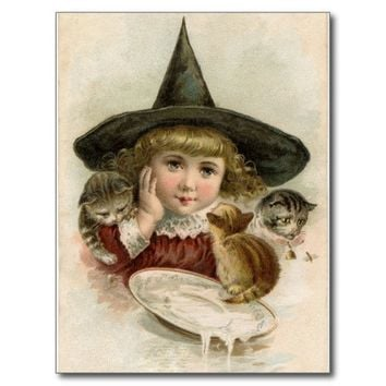Witch Girl Kittens Halloween Postcard