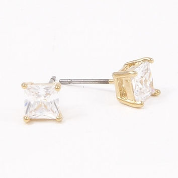 Square Cubic Zirconia Stud Earrings - Gold or Silver – H.C.B.