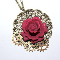Steam Punk red rose necklace with metal work and gears pendant