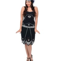 Black & Silver Sequined Gatsby Flapper Dress