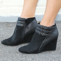 """Marilyn"" Suede Wedge Booties with Leather Contrast Ankle Straps - Black"