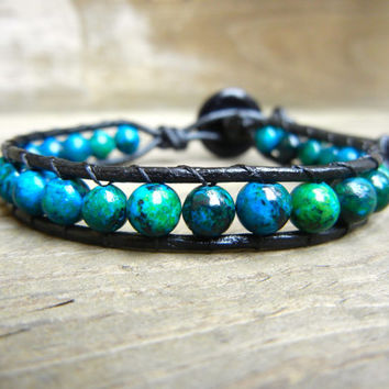 Mens Unisex Beaded Leather Single Wrap Bracelet with Blue Green Jasper Beads on Black Leather…