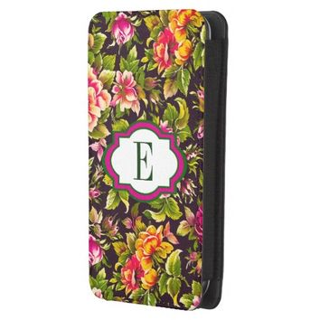 Chic Pink Floral/Black Background Smartphone Pouch