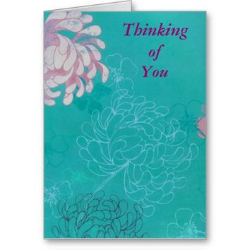 Abstract Teal and Pink Floral Greeting Card